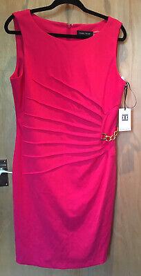 Ivanka Trump Sleeveless Pink Dress Pleat and Gold Chain Detail Size UK16 BNWT