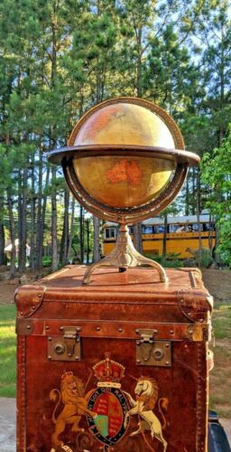 Rand McNally & Co. Antique World Terrestrial ~ Iron stand & wooden Trim Ring