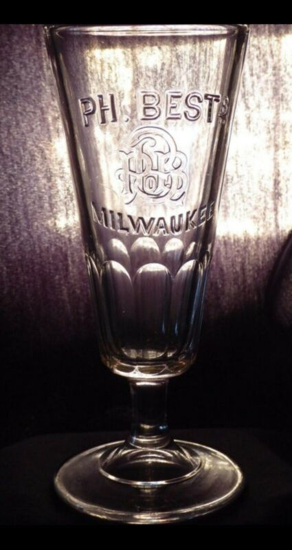 PABST PHILILP BEST EMBOSSED STEMMED PRE PRO 1890s BEER GLASS PABST