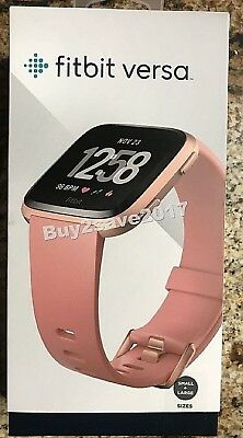 FitBit Versa Tracker/Smart Peach Rose Gold PINK Watch Small Large Bands NEW