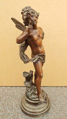 Auguste Moreau Badinage  (1855-1919) Bronze Fairy  Sculpture  /  Restoration