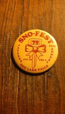Vintage Collectible ButtonPinBack Jaycees 11thAnnual SnoFest RedLakeFallsMN 1979