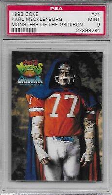 1993 COKE MONSTERS OF THE GRIDIRON #21 KARL MECKLENBURG PSA 9 POP 2 HALLOWEEN  - Denver Broncos Halloween
