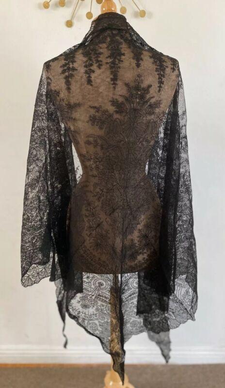 Antique Civil War Era Handmade Lace 1800s Victorian Shawl Stole