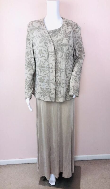 Alex Evenings Dress 16 With Matching Jacket Long Champagne Gold Stretchy