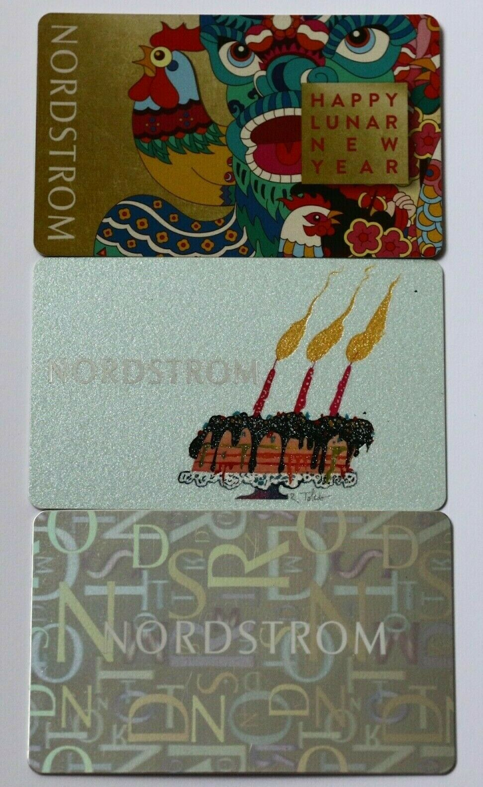 Lot Of 3 Nordstrom Collectible Empty Gift Card No 0 Value Cards - $5.99
