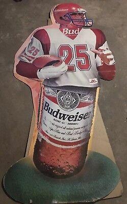 RARE Football 6ft Tall Budweiser Beer Standee Cardboard Cutout - Football Cardboard Cutouts