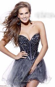 $550 Sherri Hill 1403 Crystal Bodice Gunmetal  Silver Dress Size 10