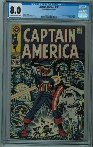 CAPTAIN AMERICA #107 CGC 8.0 1ST DOCTOR FAUSTUS HIGHER GRADE CR/OW PGS 1968