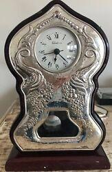 Vintage Large STERLING SILVER & Wood Table Mantle CLOCK Pendulum