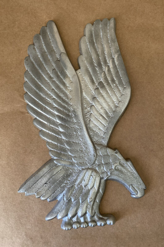 Eagle Sculpture Wall Hanging Cast Aluminum Metal Plaque Vintage American