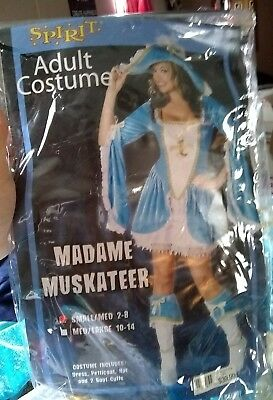 Halloween Costume Spirit Madame Muskateer Blue Sexy Adult Woman's Small - Medium