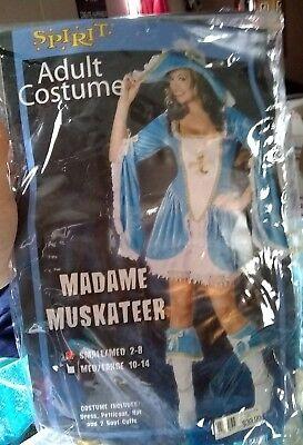 Halloween Costume Spirit Madame Muskateer Blue Sexy Adult Woman's Small - Medium](Muskateer Costume)