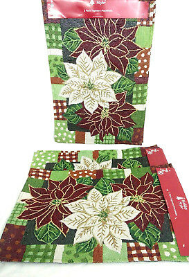 - Holiday Style Multicolor Holly Holiday Shimmer Tapestry Placemats 13