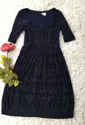 Anthropologie Meadow Rue Navy Geo Velvet Burnout Dress Size S Small