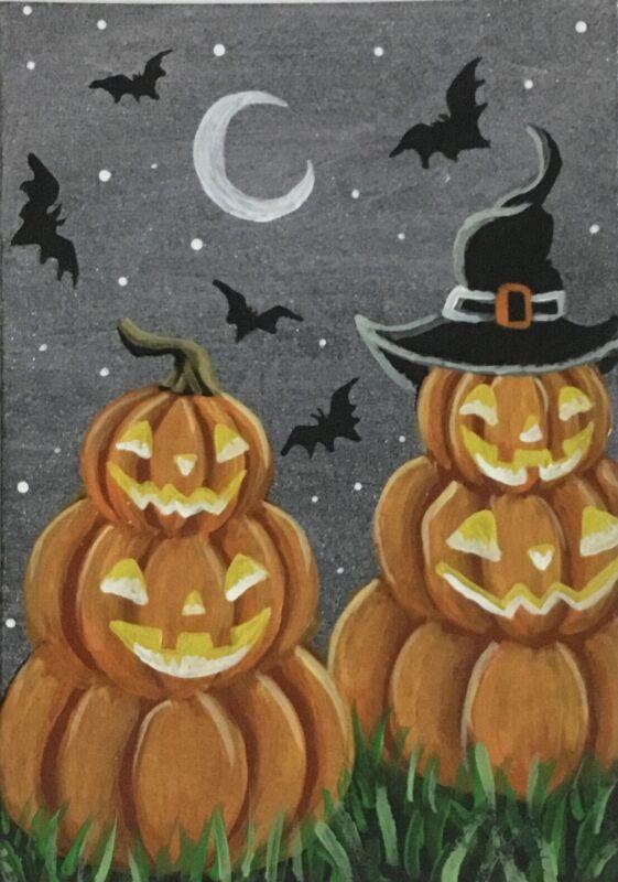 ACEO Original Halloween Acrylic Sketch Card Stacked Jack-o