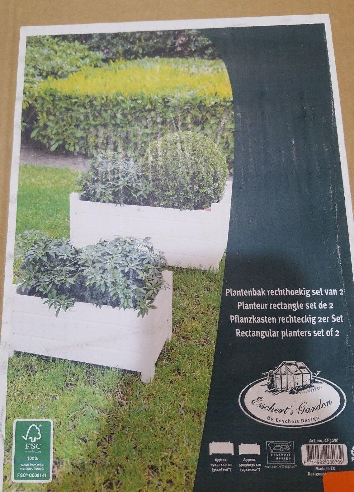 esschert cf32w design rectangular planters set of
