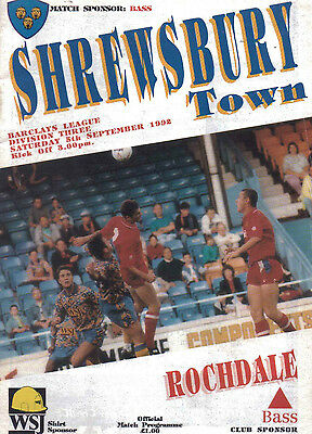 Shrewsbury Town v Rochdale 5 September 1992 - Official Matchday Programme