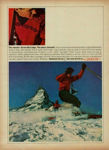 1964 Arrow Sweater Red V-Neck Arrow Ski Lodge Zermatt Snow Ski Vintage Print Ad