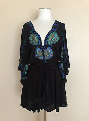 Free People NWT Sz Large Black Mini Boho Dress Floral Embroidered in Blue Green