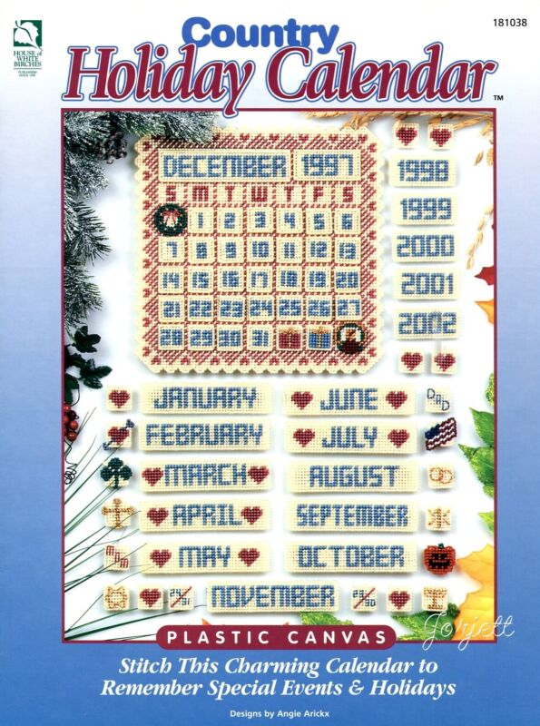 Country Holiday Calendar ~ Perpetual Calendar plastic canvas pattern booklet NEW
