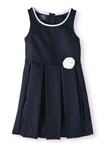 Cherokee Girl's Blue School Uniform Jumper Dress White Pipin