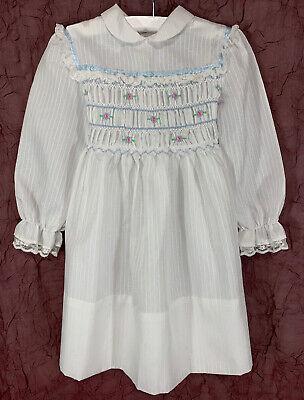 Polly Flinders Girls Size 5 Vintage Smocked DRESS White Blue Pink Lace Trim