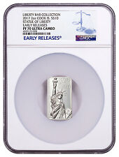 2017 Cook Is Statue Liberty HR Rectangle 2 oz Silver Bar NGC PF70 UC ER SKU48292