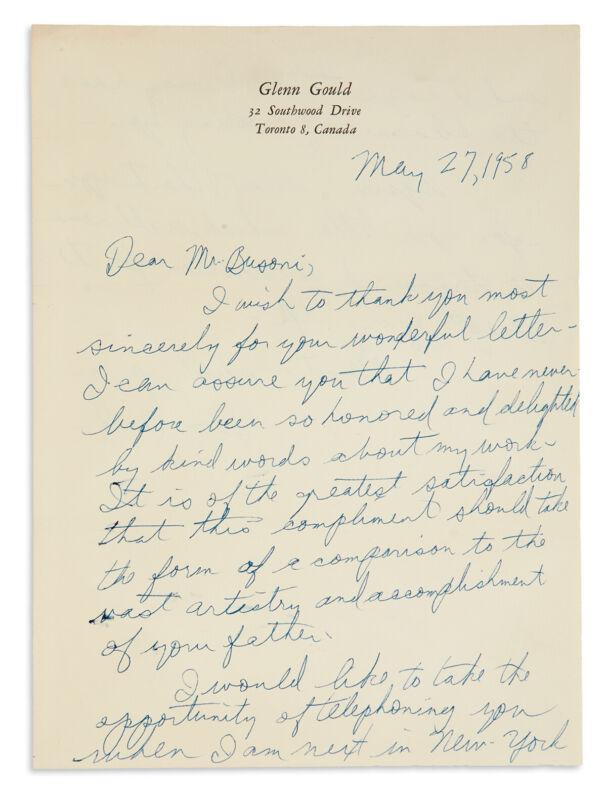 Glenn GOULD (Pianist): Autograph Letter Signed to the Son of Ferruccio BUSONI