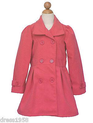 Girl Dress Coat (Girl Fall, Winter, Christmas Holiday Dress Coat, Coral, Size:)