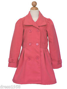 Girl christmas holiday winter dress coat coral size 6 8 10 12 14