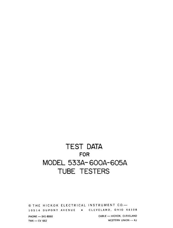 Hickok 533A 600A 605A Tube Test Data Book