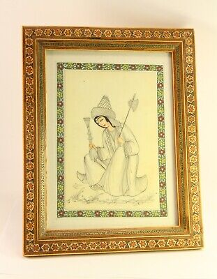 "Vtg Celluloid Khatam Inlay Marquetry Persian 9.5x7"" Art Painting Standing Framed"