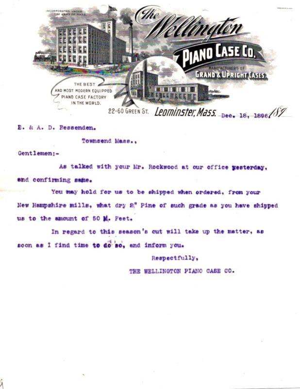 1896 ORIGINAL WELLINGTON PIANO CASE CO. LEOMINSTER MASS.