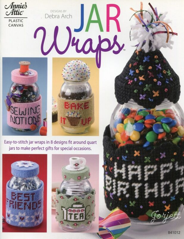 Jar Wraps ~ 8 Holiday Everyday Quart Jar Covers plastic canvas pattern book NEW