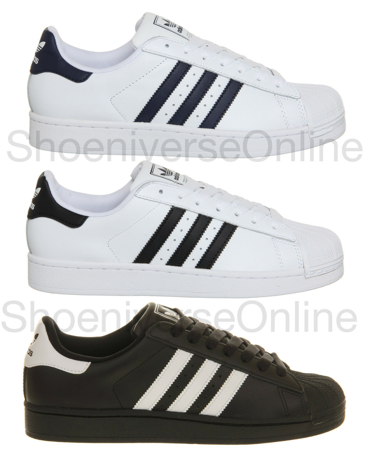 Men's Adidas Originals Superstar 2 Classic Retro Trainers White Black Navy