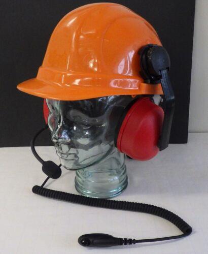 Hardhat with Headset for Motorola HT750/1250 Radio