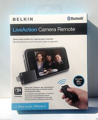 BELKIN LiveAction Bluetooth Camera Remote F8Z896 iPod 4, iPhone 4 4s 5 5s NEW Belkin Ipod Remote