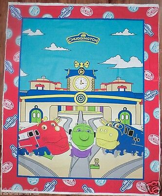 CHUGGINGTON TRAIN FABRIC PANEL QUILT TOP WALLHANGING COLORFUL fabric NEW!