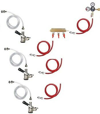 Portable Kegerator Beer Jockey Box Tap Triple 3 Keg Faucet Cooler Full Kit