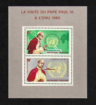 Togo 1965 Pope Paul VI's Visit to UNO miniature sheet (SG MS450) MNH
