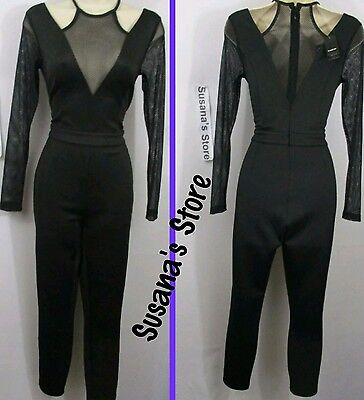 NWT BEBE JANELLE MESH CONTRAST NECK CATSUIT JUMPSUIT SIZE M NEW NWT MSRP$106