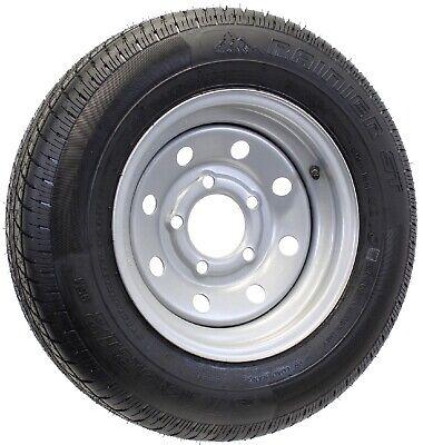 2-Pk Trailer Tire Rim ST145/R12 145/R12 Radial Load E 5 Lug Silver Modular Wheel