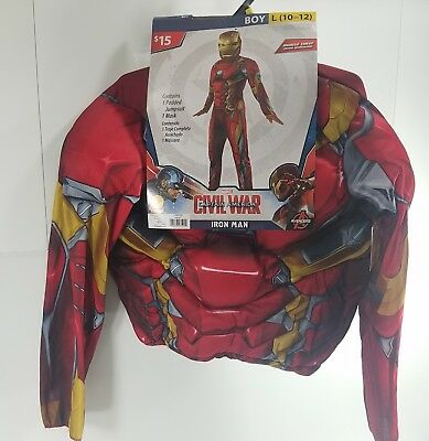 Halloween Costume Marvel Civil War Iron Man L (10-12) Fantasy Dress Up Play GE