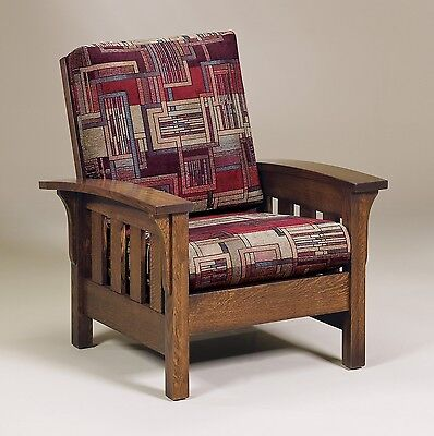 Amish Handcrafted Mission Craftsman Accent Chair Bow Arm Upholstered Solid - Furniture Solid Wood Bow