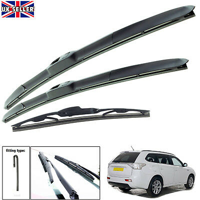 "Mitsubishi Outlander 2012-on hybrid wiper blades set of front & rear 26""18""12"""