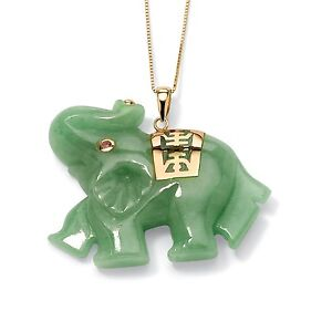 Green Genuine Jade 14k Gold Lucky Elephant Charm Pendant