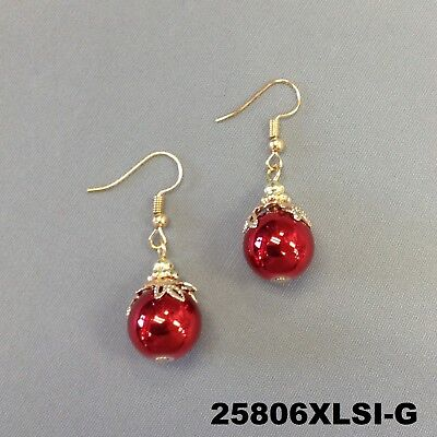 Red Color Christmas Tree Round Ornament Design Dangle Hook Earrings 25806XLSI-G