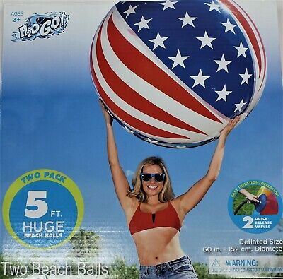 H2OGo Huge Giant Beach Balls Two Pack, Both Beach Balls are 5 Feet
