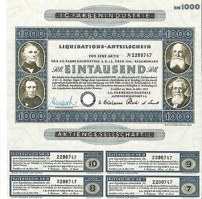 I.G.FarbenIndustrie AG , Liquidation 1000 RM Old Stock